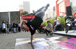 Breakdance. Teens are following breakdance competition at a youth center in the city of Solo, Central Java, Indonesia Royalty Free Stock Photo