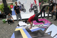 Breakdance. Teens are following breakdance competition at a youth center in the city of Solo, Central Java, Indonesia Royalty Free Stock Photography