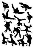 breakdancer剪影 免版税库存图片