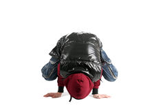 Breakdancer. Young breakdancer standing on his hands royalty free stock image