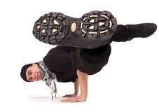 Breakdancer. Break dancing. Breakdancer dances on a white background Stock Image