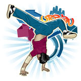Breakdancer. Cool image with breakdancer and street style attributes Royalty Free Stock Images