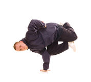 Breakdancer in air baby freeze Royalty Free Stock Photography