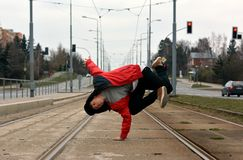 Breakdancer dancing breakdance in the city Stock Images