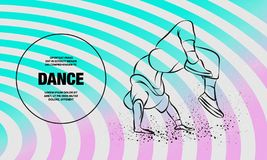 Free Breakdancer Doing A Back Flip. The Man Is Dancing Hip Hop Style. Vector Outline Of Breakdance Illustration. Royalty Free Stock Photography - 159354397