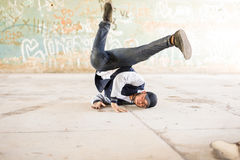 Breakdancer doing a headstand Royalty Free Stock Image