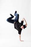 Breakdancer in freeze. Against white background Stock Images
