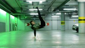 Breakdancer in the garage stock footage