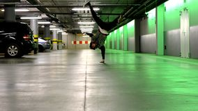 Breakdancer in the garage stock video