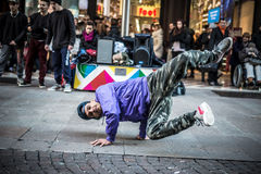 Breakdancer guys in Milan dancing in the street Stock Photo