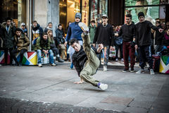 Breakdancer guys in Milan dancing in the street Royalty Free Stock Photo