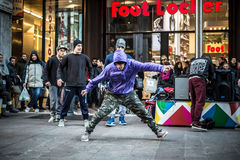 Breakdancer guys in Milan dancing in the street Stock Photography