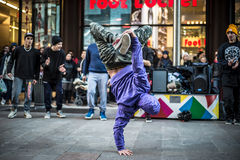 Breakdancer guys in Milan dancing in the street Royalty Free Stock Photography
