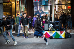 Breakdancer guys in Milan dancing in the street Royalty Free Stock Images