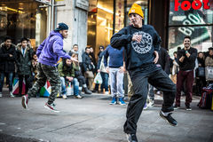 Breakdancer guys in Milan dancing in the street Stock Images