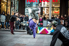 Breakdancer guys in Milan dancing in the street Stock Images