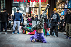 Breakdancer guys in Milan dancing in the street Royalty Free Stock Image