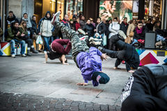 Breakdancer guys in Milan dancing in the street Stock Image