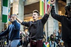 Breakdancer guys in Milan dancing in the street Stock Photography