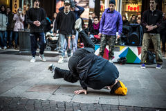 Breakdancer guys in Milan dancing in the street Royalty Free Stock Photos