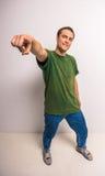 Breakdancer. Handsome breakdancer standing at studio on white background stock photo