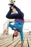 Breakdancer handstand on one hand Royalty Free Stock Photos