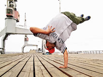 Breakdancer jumping Stock Photos
