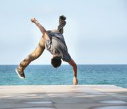 Breakdancer on natural background Stock Photo