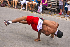 Breakdancer at an open air performance in Battery Park, New York Royalty Free Stock Images
