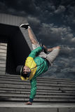 Breakdancer performer hand stand Stock Photography