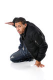 Breakdancer Performing. Young African American breakdancer performing Royalty Free Stock Photos