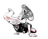 Breakdancer pose. Illustration of breakdancer pose on white Stock Photos