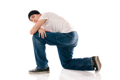 Breakdancer posing. Young breakdancer posing while looking at camera stock photos