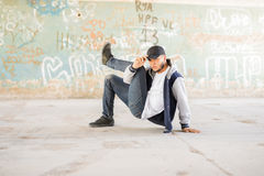 Breakdancer showing some moves Royalty Free Stock Photography