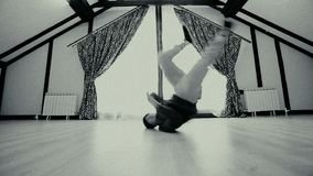 Breakdancer shows his break dance skill stock video