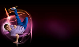 Breakdancer standing on hand Royalty Free Stock Photography
