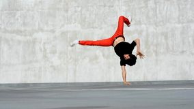 Breakdancer on the street. Young boy dancing breakdance on the street stock video