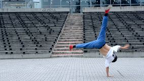 Breakdancer on the street stock video footage