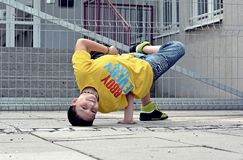 Breakdancer on the street Royalty Free Stock Photo