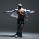 Breakdancer in a studio Royalty Free Stock Photo