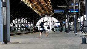 Breakdancer at the train station in Prague Stock Photography