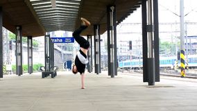 Breakdancer at the train station in Prague Stock Image