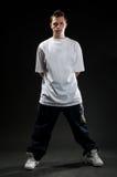 Breakdancer in white t-shirt