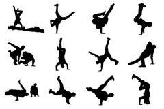 breakdancers剪影  节律唱诵的音乐男性舞蹈家导航在白色背景隔绝的剪影 免版税库存图片