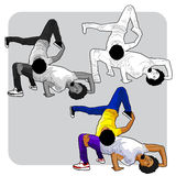 Breakdancers duo. Vector illustration of a a breakdancer team or duo performing and acrobatic dance move Royalty Free Stock Image