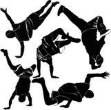 Breakdancesilhouet Royalty-vrije Stock Afbeeldingen