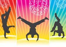 breakdancesilhouettes royaltyfri bild