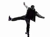 breakdancing年轻人剪影的Hip Hop杂技断裂舞蹈家 免版税图库摄影