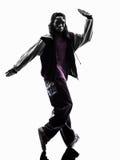 breakdancing年轻人剪影的Hip Hop杂技断裂舞蹈家 免版税库存照片