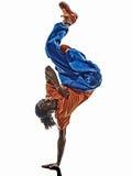 breakdancing年轻人手倒立的Hip Hop杂技断裂舞蹈家 免版税库存图片